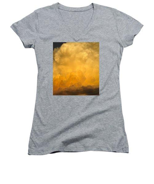 Fire In The Sky Fsp Women's V-Neck T-Shirt (Junior Cut)