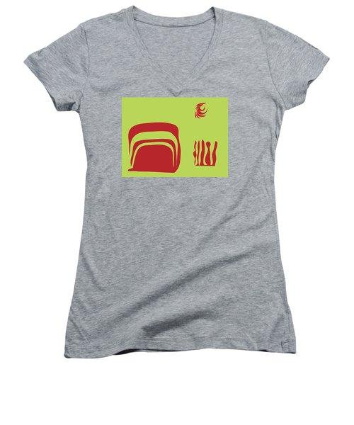 Women's V-Neck T-Shirt (Junior Cut) featuring the digital art Fire Spirit Cave by Kevin McLaughlin