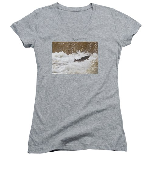 Fish Jumping Upstream In The Water Women's V-Neck T-Shirt