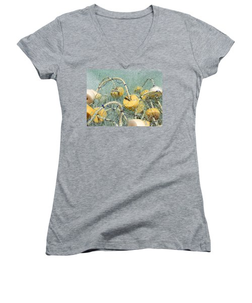 Women's V-Neck T-Shirt (Junior Cut) featuring the digital art Fishing Nets And Weights by Anne Mott