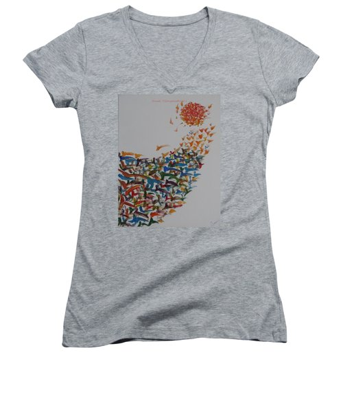 Women's V-Neck T-Shirt (Junior Cut) featuring the painting Fleet Of Birds by Sonali Gangane
