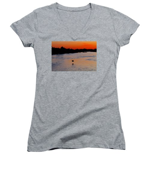 Women's V-Neck T-Shirt (Junior Cut) featuring the photograph Flight Of The Turkey by Elizabeth Winter