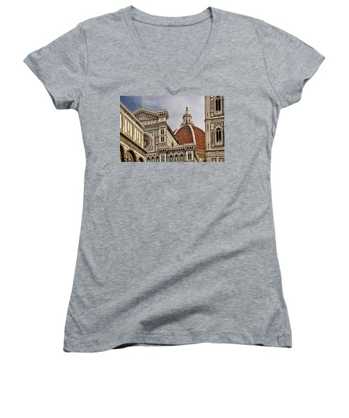 Women's V-Neck T-Shirt (Junior Cut) featuring the photograph Florence Duomo by Steven Sparks