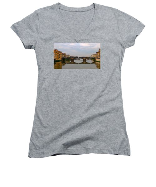 Florence Italy Bridge Women's V-Neck T-Shirt (Junior Cut) by Catie Canetti