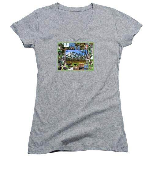 Florida Wildlife Photo Collage Women's V-Neck T-Shirt