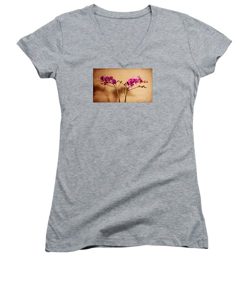 Women's V-Neck T-Shirt (Junior Cut) featuring the photograph Flower Letter by Milena Ilieva