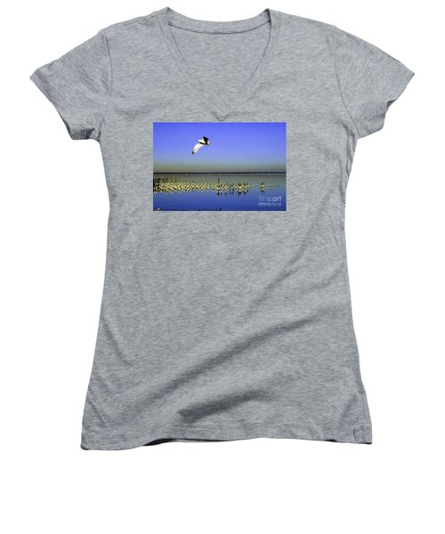 Women's V-Neck T-Shirt (Junior Cut) featuring the photograph Flying Solo by Clayton Bruster