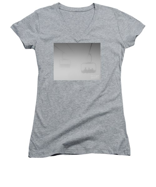 Women's V-Neck T-Shirt (Junior Cut) featuring the photograph Fog by Eunice Gibb