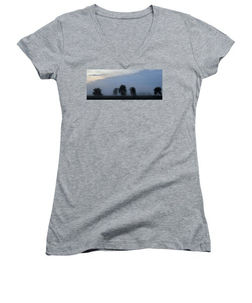 Foggy Pennsylvania Treeline Women's V-Neck