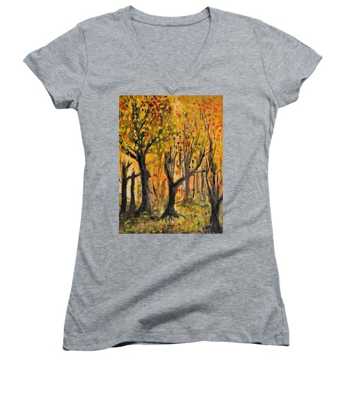 Women's V-Neck T-Shirt (Junior Cut) featuring the painting Foliage by Evelina Popilian
