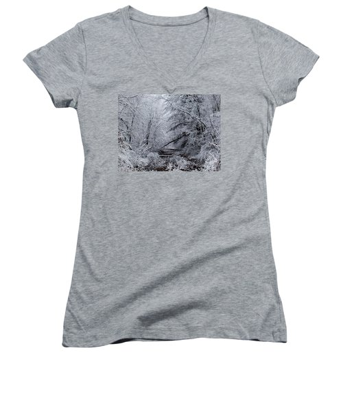 Women's V-Neck T-Shirt (Junior Cut) featuring the photograph Forest Lace by Christian Mattison