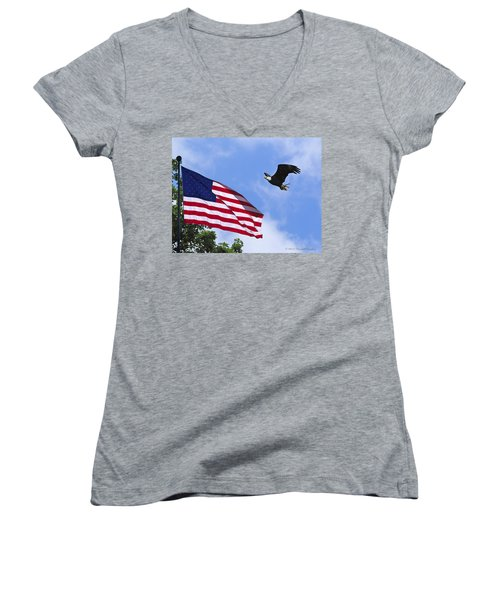 Women's V-Neck T-Shirt (Junior Cut) featuring the photograph Freedom Feeds The Family by Randall Branham