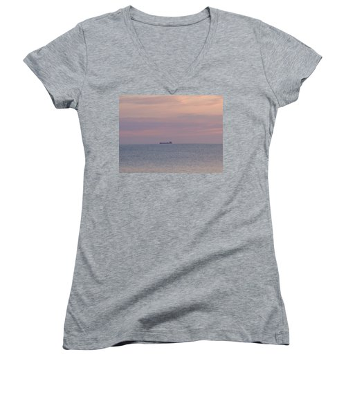 Women's V-Neck T-Shirt (Junior Cut) featuring the photograph Freighter by Bonfire Photography