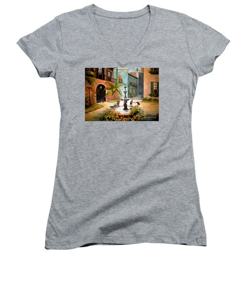 French Quarter Fountain Women's V-Neck (Athletic Fit)