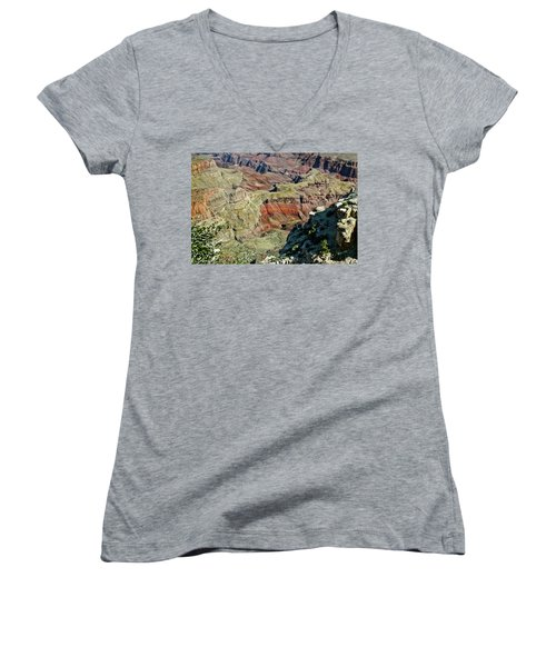 Women's V-Neck T-Shirt (Junior Cut) featuring the painting From Yaki Point 6 Grand Canyon by Bob and Nadine Johnston