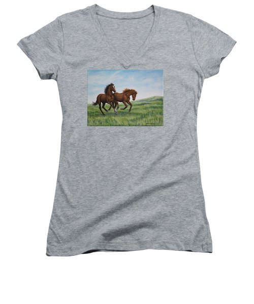 Galloping Horses Women's V-Neck T-Shirt (Junior Cut) by Penny Birch-Williams