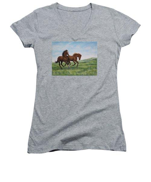 Galloping Horses Women's V-Neck T-Shirt