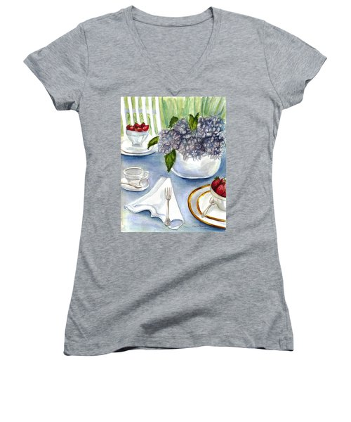 Women's V-Neck T-Shirt (Junior Cut) featuring the painting Garden Tea Party by Clara Sue Beym