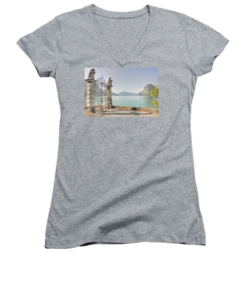Gate On The Lake Front Women's V-Neck (Athletic Fit)