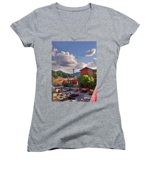 Women's V-Neck T-Shirt (Junior Cut) featuring the photograph Gatlinburg Tn by Janice Spivey