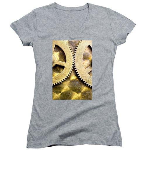 Women's V-Neck T-Shirt (Junior Cut) featuring the photograph Gears From Inside A Wind-up Clock by John Short