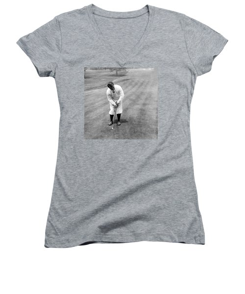 Women's V-Neck T-Shirt (Junior Cut) featuring the photograph Gene Sarazen Playing Golf by International  Images