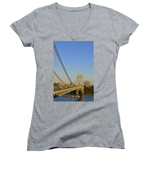 George Washington Bridge And Boat Women's V-Neck T-Shirt