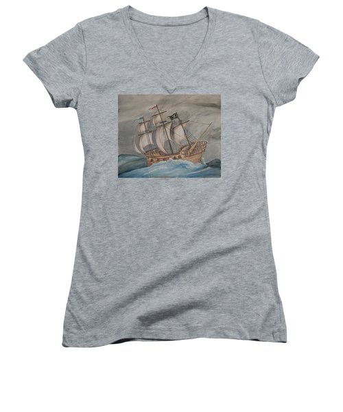 Ghost Pirate Ship Women's V-Neck T-Shirt