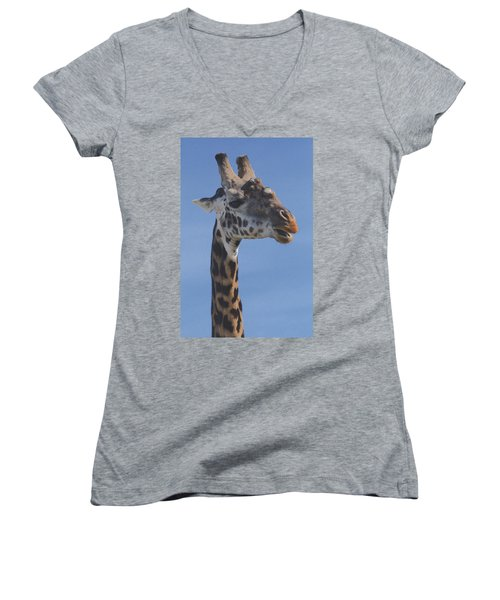 Women's V-Neck T-Shirt (Junior Cut) featuring the photograph Giraffe Headshot by Tom Wurl