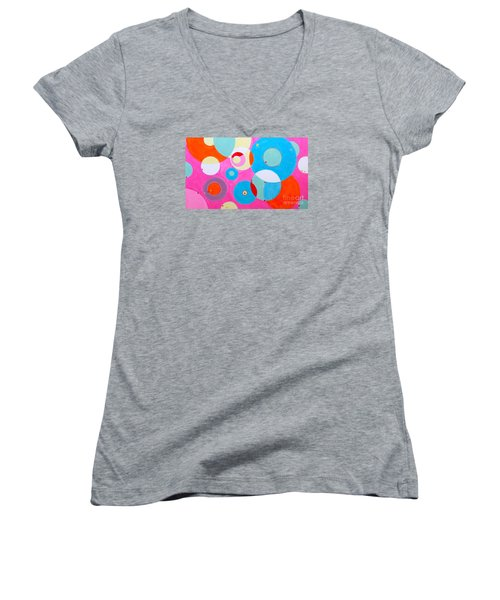 Women's V-Neck T-Shirt (Junior Cut) featuring the painting Girl by Beth Saffer