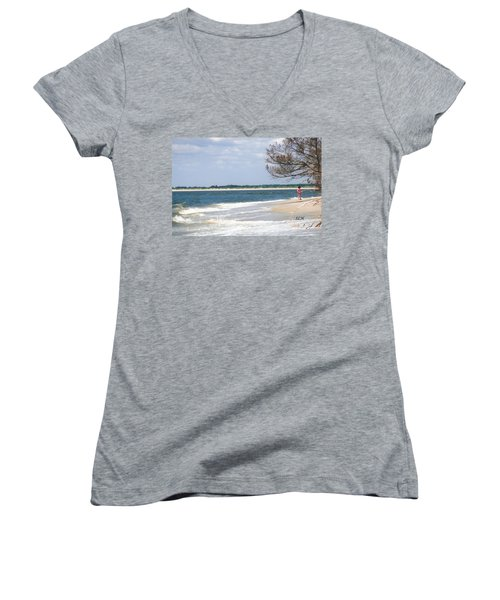 Girl On The Beach Women's V-Neck T-Shirt