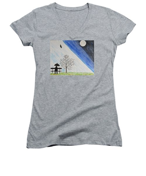 Women's V-Neck T-Shirt (Junior Cut) featuring the painting Girl With A Umbrella by Sonali Gangane