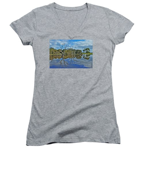 Glass Lake Women's V-Neck T-Shirt (Junior Cut) by Stephen Mitchell