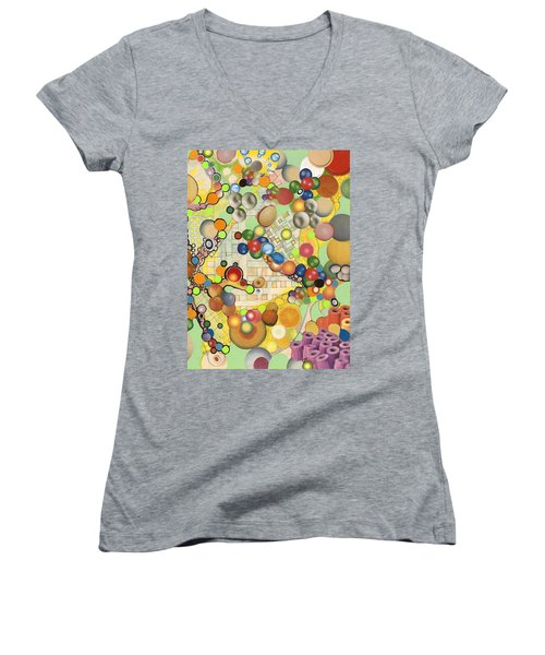 Women's V-Neck T-Shirt (Junior Cut) featuring the mixed media Globious Maximous by Douglas Fromm