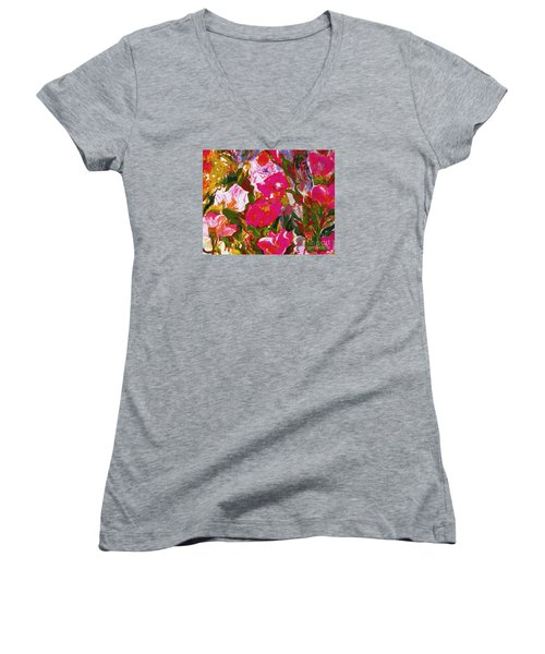 Women's V-Neck T-Shirt (Junior Cut) featuring the mixed media Glorious by Beth Saffer