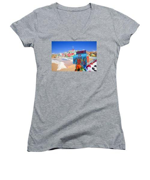 Women's V-Neck T-Shirt (Junior Cut) featuring the photograph God's Mailbox by Hugh Smith