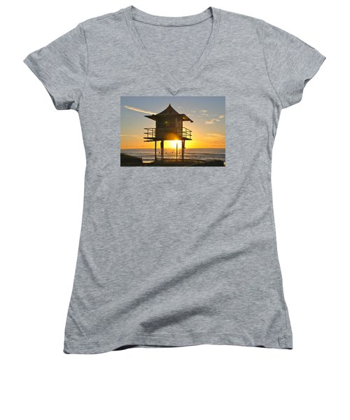 Women's V-Neck T-Shirt (Junior Cut) featuring the photograph Gold Coast Life Guard Tower by Eric Tressler