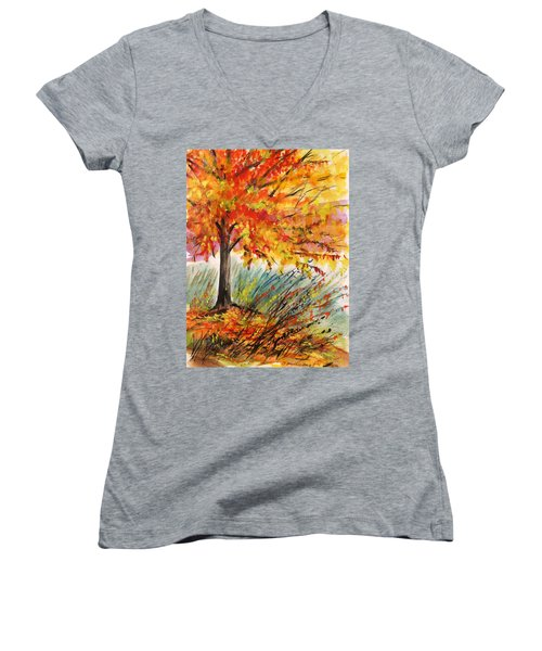 Women's V-Neck T-Shirt (Junior Cut) featuring the painting Gold On A Blue Day by John Williams