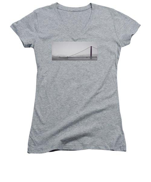 Women's V-Neck T-Shirt (Junior Cut) featuring the photograph Golden Gate Morning by Don Schwartz