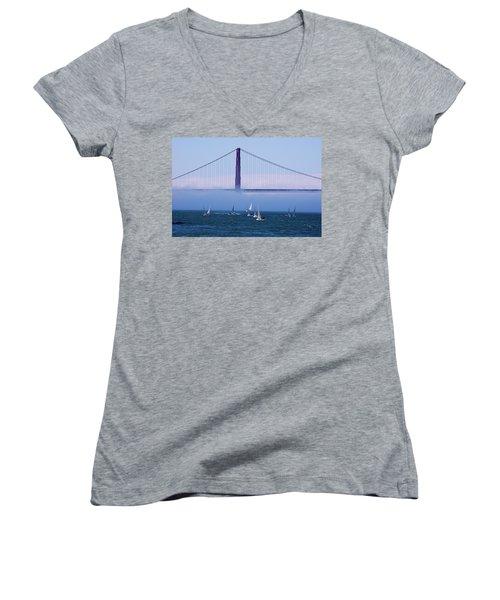 Women's V-Neck T-Shirt (Junior Cut) featuring the photograph Golden Gate Windsurfers by Don Schwartz