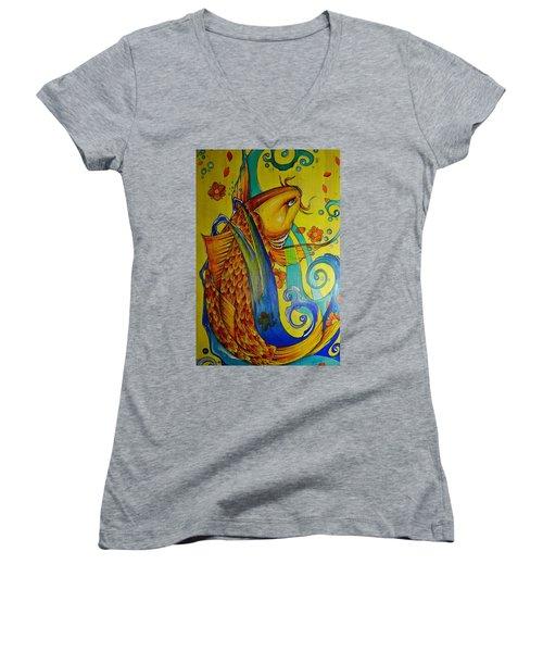 Golden Koi Women's V-Neck T-Shirt (Junior Cut) by Sandro Ramani