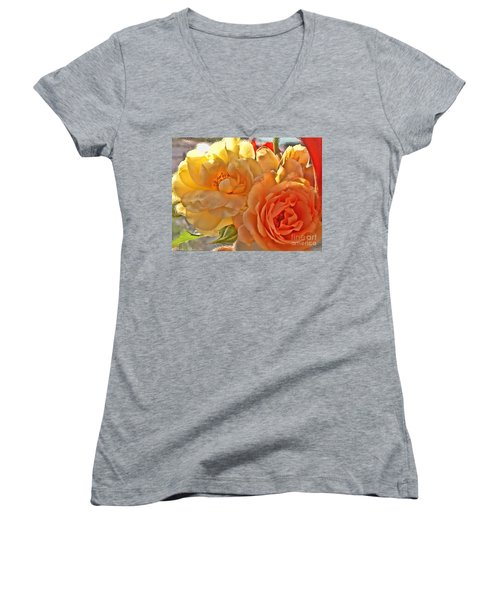 Women's V-Neck T-Shirt (Junior Cut) featuring the photograph Golden Light by Debbie Portwood