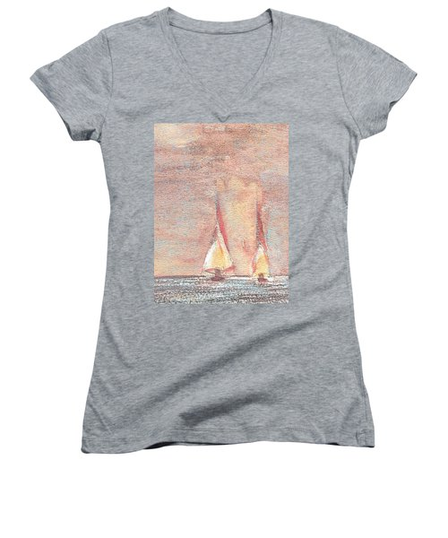 Women's V-Neck T-Shirt (Junior Cut) featuring the painting Golden Sails by Richard James Digance
