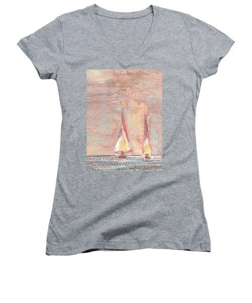 Golden Sails Women's V-Neck T-Shirt