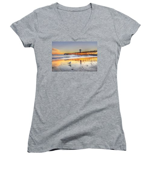 Golden Sunset With Bird Women's V-Neck (Athletic Fit)