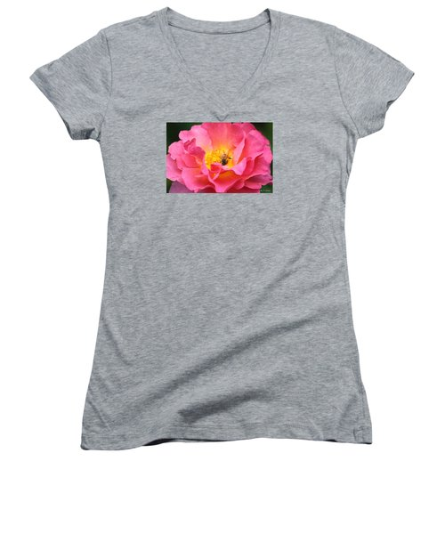 Good Morning  Women's V-Neck T-Shirt (Junior Cut) by Amy Gallagher