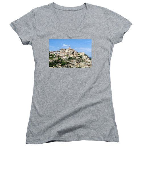 Women's V-Neck T-Shirt (Junior Cut) featuring the photograph Gordes In Provence by Carla Parris