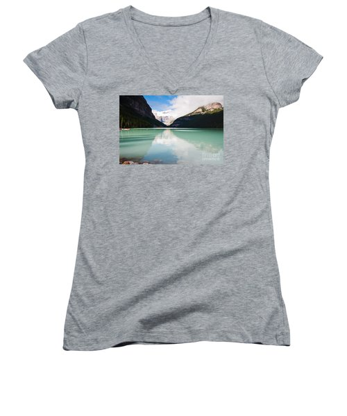 Women's V-Neck T-Shirt (Junior Cut) featuring the photograph Gorgeous Lake Louise by Cheryl Baxter