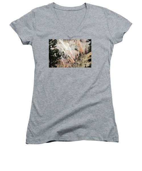 Grand Canyon Colors Of Yellowstone Women's V-Neck T-Shirt (Junior Cut) by Living Color Photography Lorraine Lynch