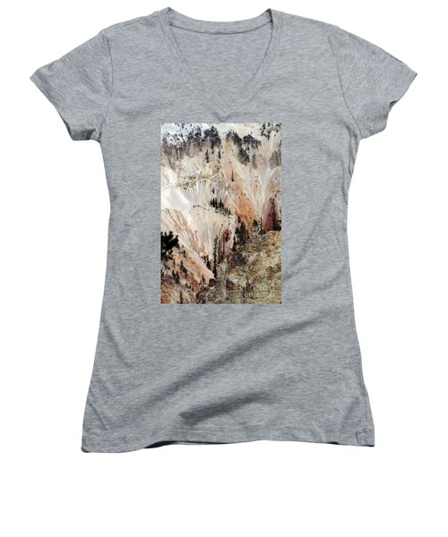 Grand Canyon Of Yellowstone Vertical Women's V-Neck T-Shirt (Junior Cut) by Living Color Photography Lorraine Lynch